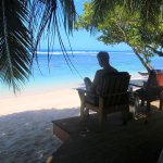The best seats in the house are on our beach fale's, here is PJ enjoying a good read and a good view