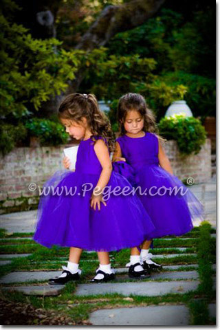 Royal purple flower girl dresses to match J Crew dresses