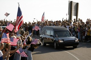 The hearse carrying the body of Ronald Reagan