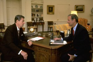 President Ronald Reagan and Chief of Staff James Baker