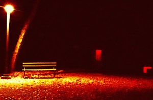 Bench in Red is a collaborative image by Julie Baumkel and Peg McNichol.