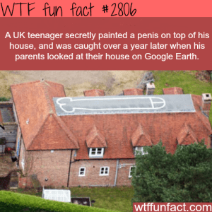 UK teenager paints penis on roof - WTF Fun Facts Penis Edition