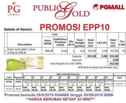 Easy Payment Plan (EPP) 10 -1 dinar Public Gold.