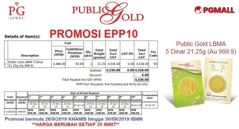 Easy Payment Plan (EPP) 10 - 5 dinar Public Gold.