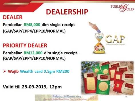 Promosi Dealer Public Gold tanpa PGGT 19-23 September 2019.
