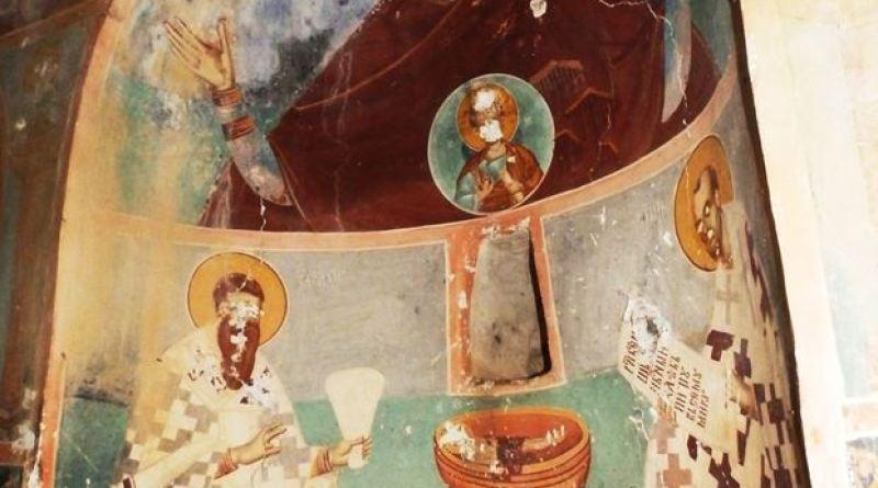 Св. Богородица со Исус, св. Василиј и св. Јован Златоуст