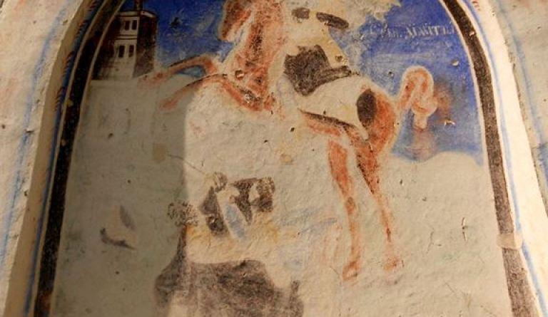 Св. Димитрија над вратата на јужниот ѕид