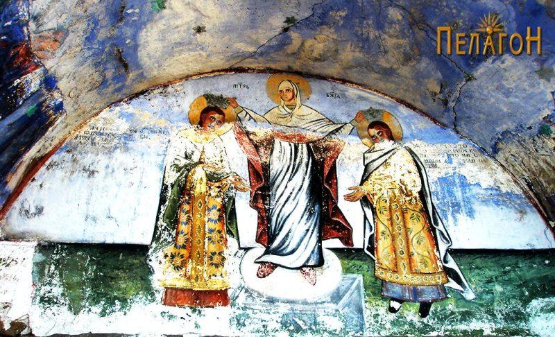 Царевите Андроник II и Михаил IX ги благословува Св. Богородица - на манастирската порта 2