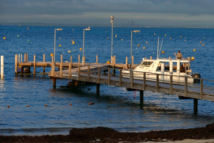 Just before sundown, view from Hotel Rottnest across to Perth. Copyright Doug Spencer.