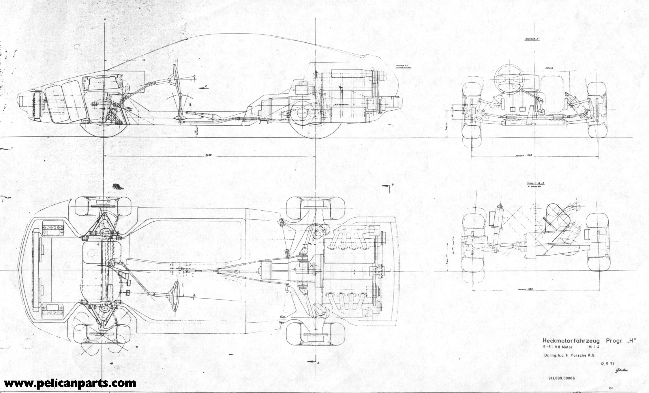 Pelican Parts Original German 911 928 Prototype Blueprint