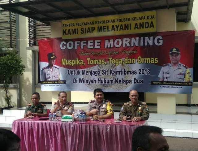 Bersama Kapolres Tangerang Selatan, Polsek Kelapa Dua Gelar Coffee Morning