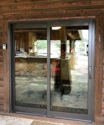 New Sliding Patio Door In Wimberley Log Cabin
