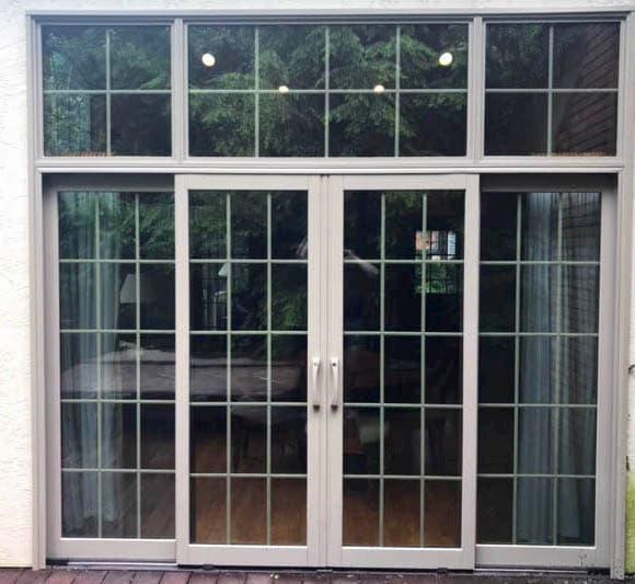 4 panel sliding glass door lets in