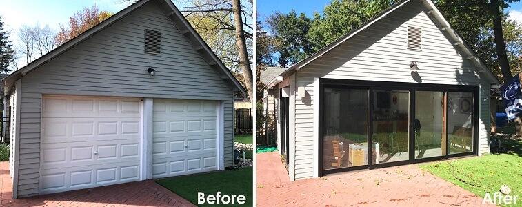 sliding glass doors transform garage