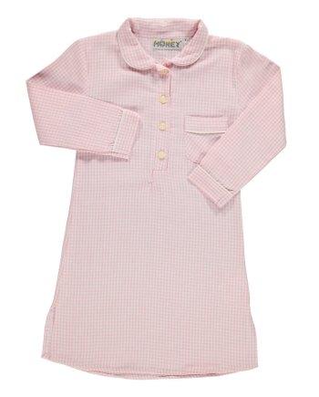 Camicia da notte in flanella bianco e rosa