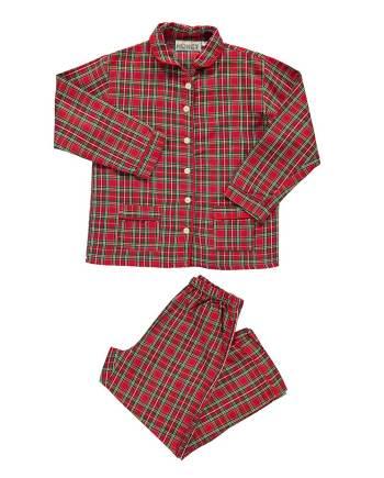 pigiama in flanella lungo rosso scozzese