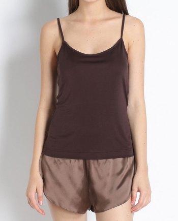 Top con spallino fine marrone in jersey di seta