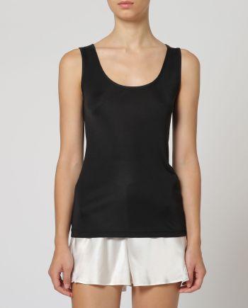 Top con spallino largo nero in jersey di seta