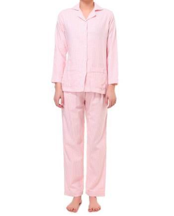 Pigiama lungo in flanella bianco e rosa