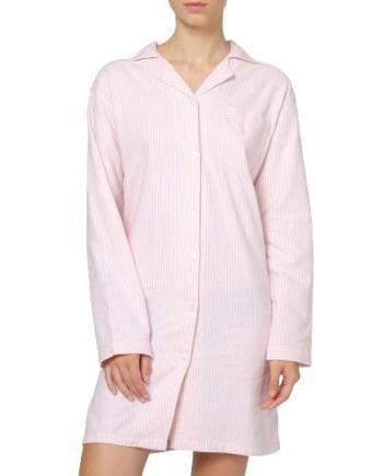 Camicia da notte in cotone bianco e rosa