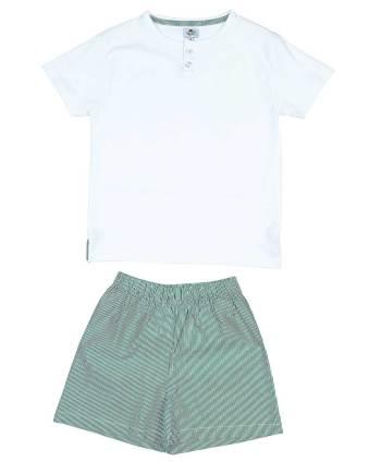 pigiama in cotone corto bianco e verde