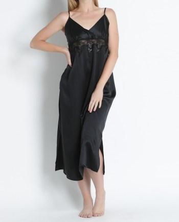 Camicia da notte lunga con pizzo in raso di seta nero