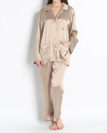 Pigiama lungo in raso di seta giacca con bottoni crema
