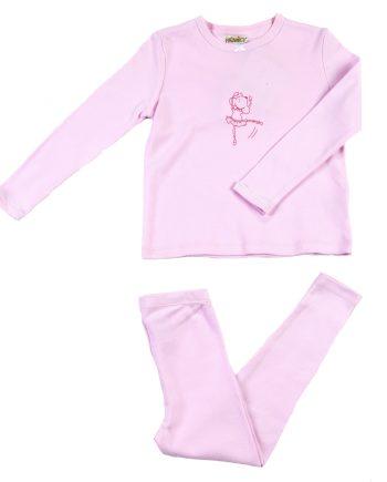 Pigiama in cotone lungo rosa con stampa