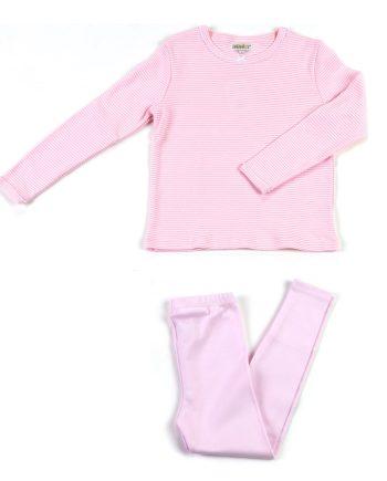 Pigiama in cotone lungo righe rosa