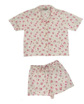 Pigiama corto in cotone fiore rosa