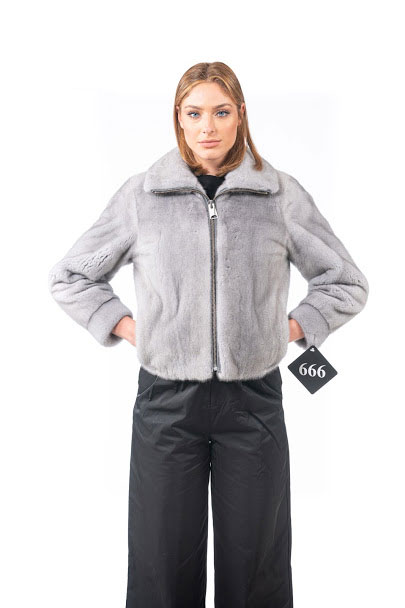 Mink jacket with zip