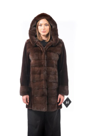 Mink jacket with hood