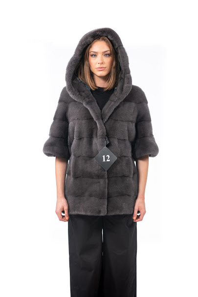 Mink jacket with hood and short sleeves