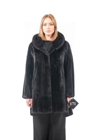Mink jacket with hood