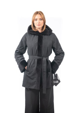 Double face mink coat with hood