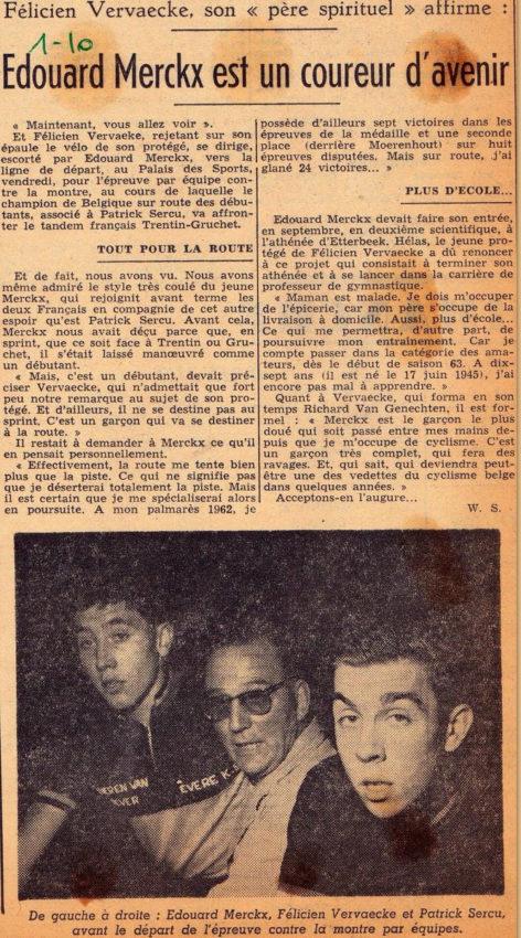 Recorte de Jornal sobre o jovem Edouard Merckx
