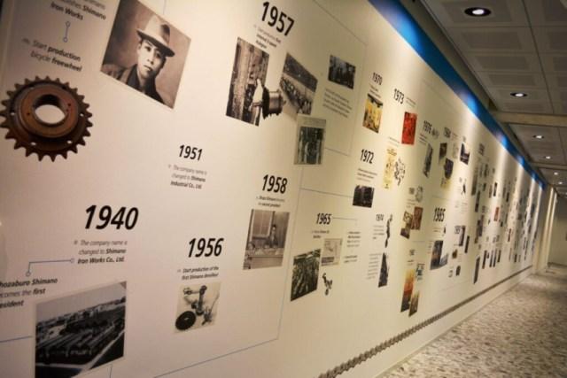 Painel com a história da Shimano em sua sede | Pelote Ciclismo