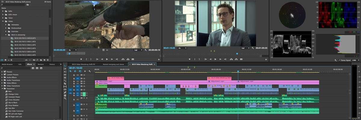 montage van een videoproductie in Adobe Premiere