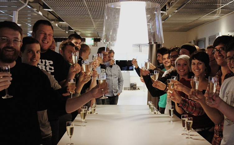 Champagne celebration at Supercell office