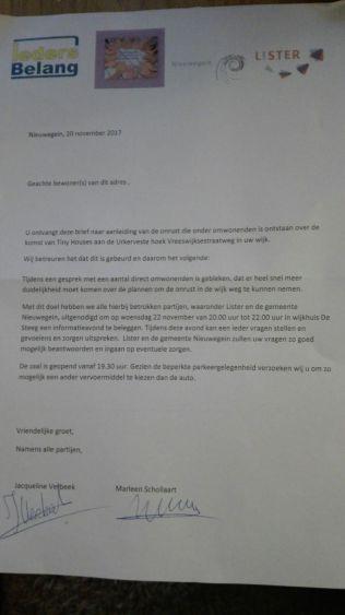 Brief bijeenkomst 22 november