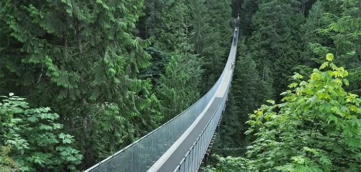 A incrível ponte suspensa do Capilano Suspesion Bridge