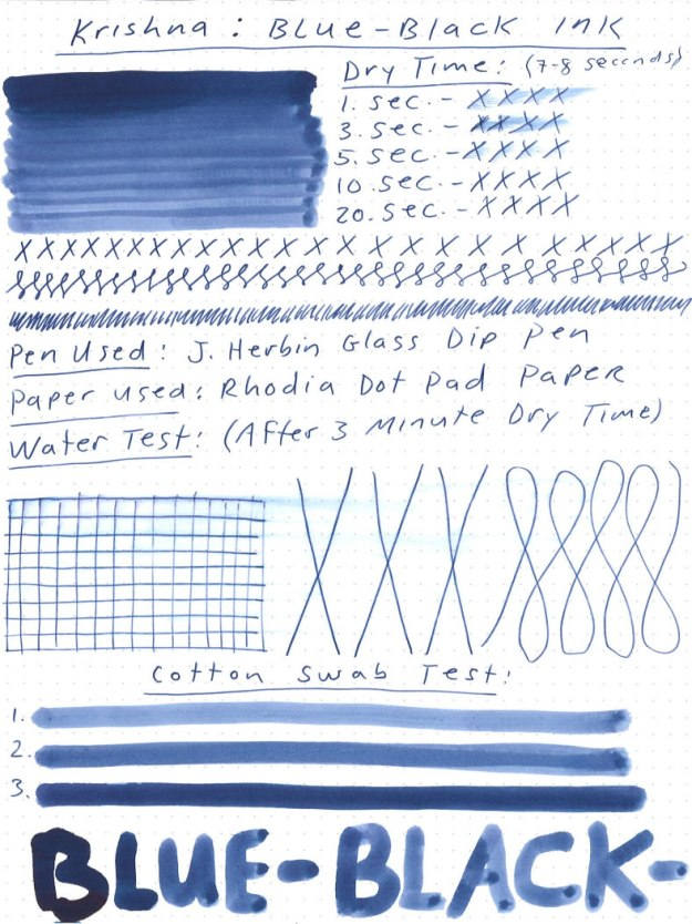 Krishna Lyrebird Waterproof Blue-Black Ink Review