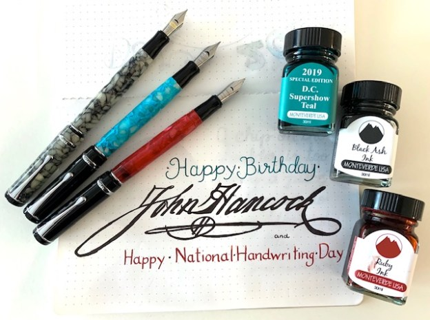 conklin, conklin duragraph fountain pen, fountain pen, national handwriting day, writing with fountain pens, national handwriting day, john hancock birthday, handwriting day 2020