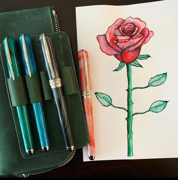 Fountain Pen Tutorial: Draw a Long Stemmed Rose and Make a Mother's Day Quarantine Project