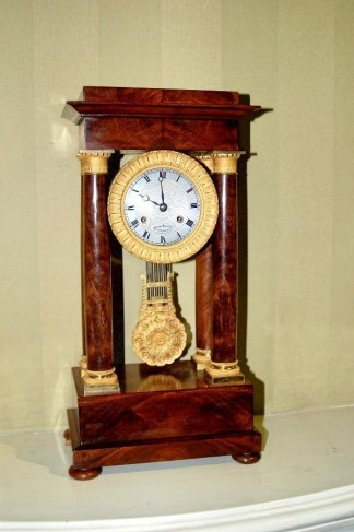 mahogany portico clock