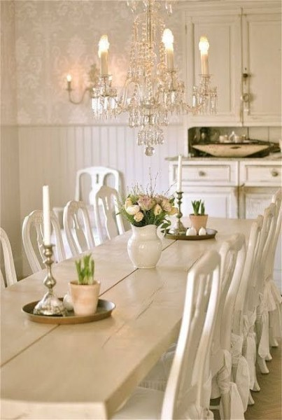 Shabby Chic Loves White and Light! Play with tones and textures to create a soft airy looking space using whites and light hues.