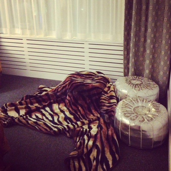 A chill hang out spot was created using poufs and tiger blanket.