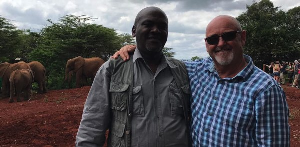 Peter Ceo Penfam Tours and Safaris with guest at Peter with guest at David Sheldrick Wildlife Trust