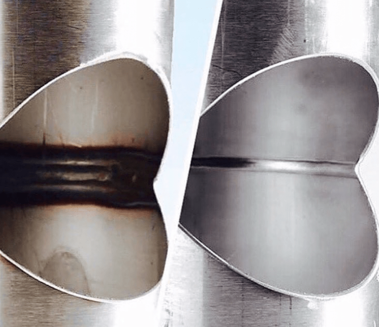 Differences in the quality of purged and unpurged welds can also be clearly seen when looking at the inside of the weld.Per the image below on left, sugaring is a telltale sign of an unpurged weld. The uneven surface, caused by burn through, will trap bacteria, corrode and possibly crack prematurely. In sanitary applications, this is unacceptable. In contrast, the purged weld to the right shows no signs of burn through and exhibits a fully penetrated and consistent arc.