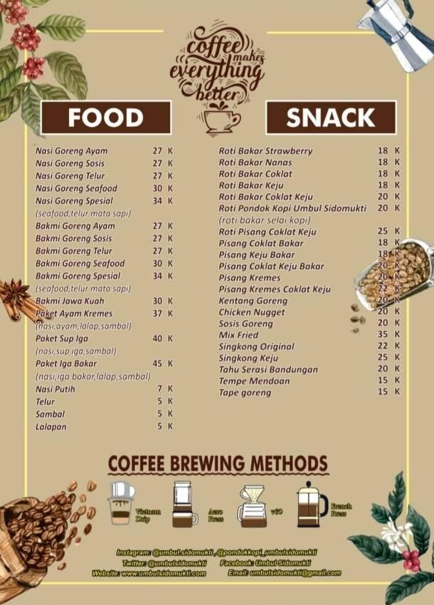 daftar harga menu makanan pondok kopi umbul sidomukti bandungan